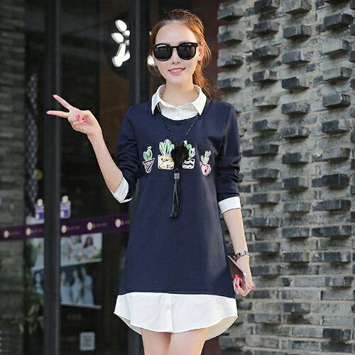 卡通長袖休閒襯衫裙中裙(圖片色,S~2XL)-ORead自由風格