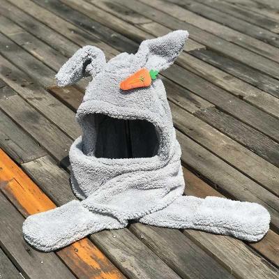 超大兔耳朵三件套帽子圍巾手套一套一體網紅同款圍脖成人防寒套裝『J9756』