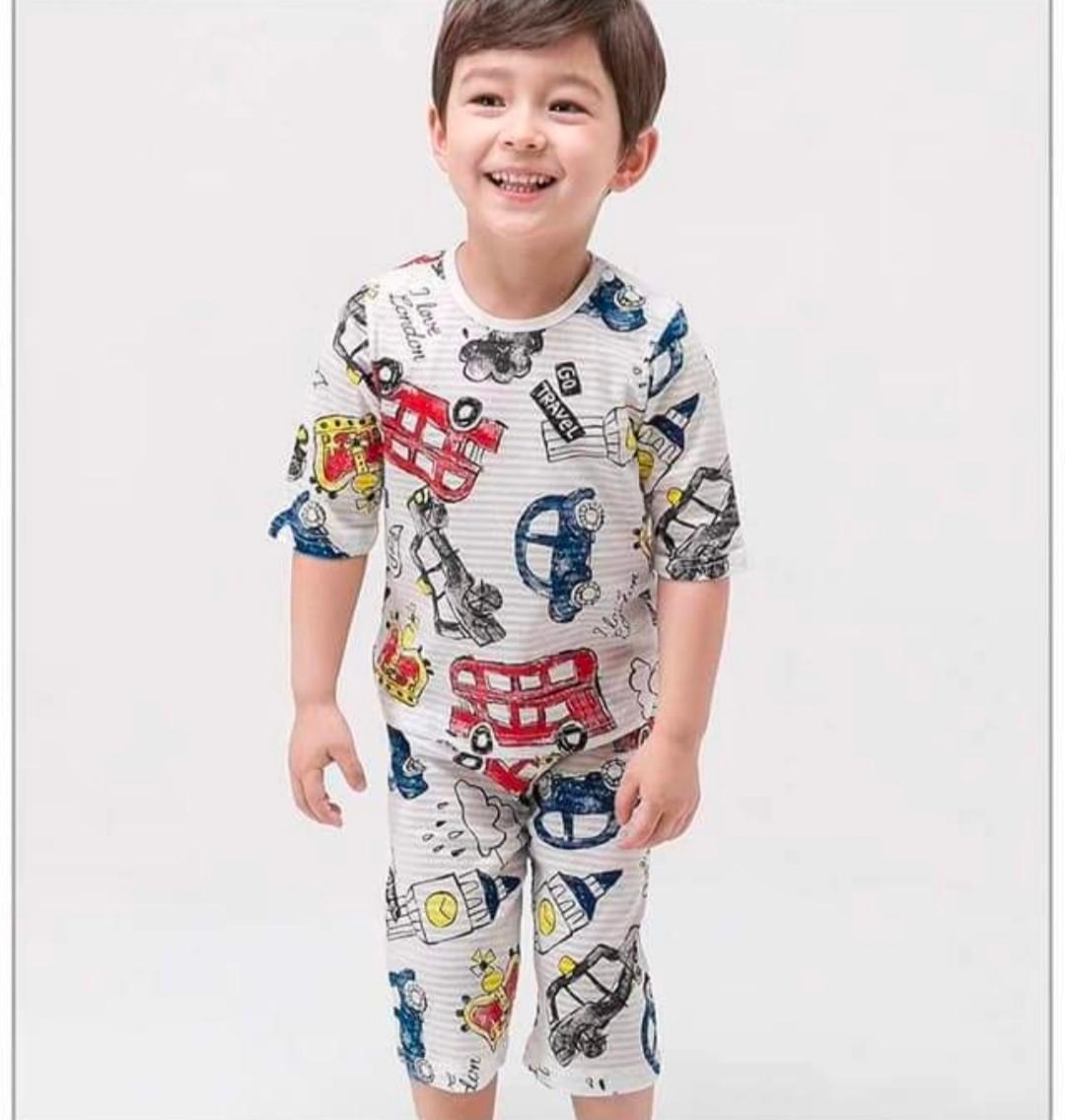 (現貨)正韓國純棉 Mellisse兒童居家服春夏款車車(七分袖)90-150cm 芒果姐姐童裝屋