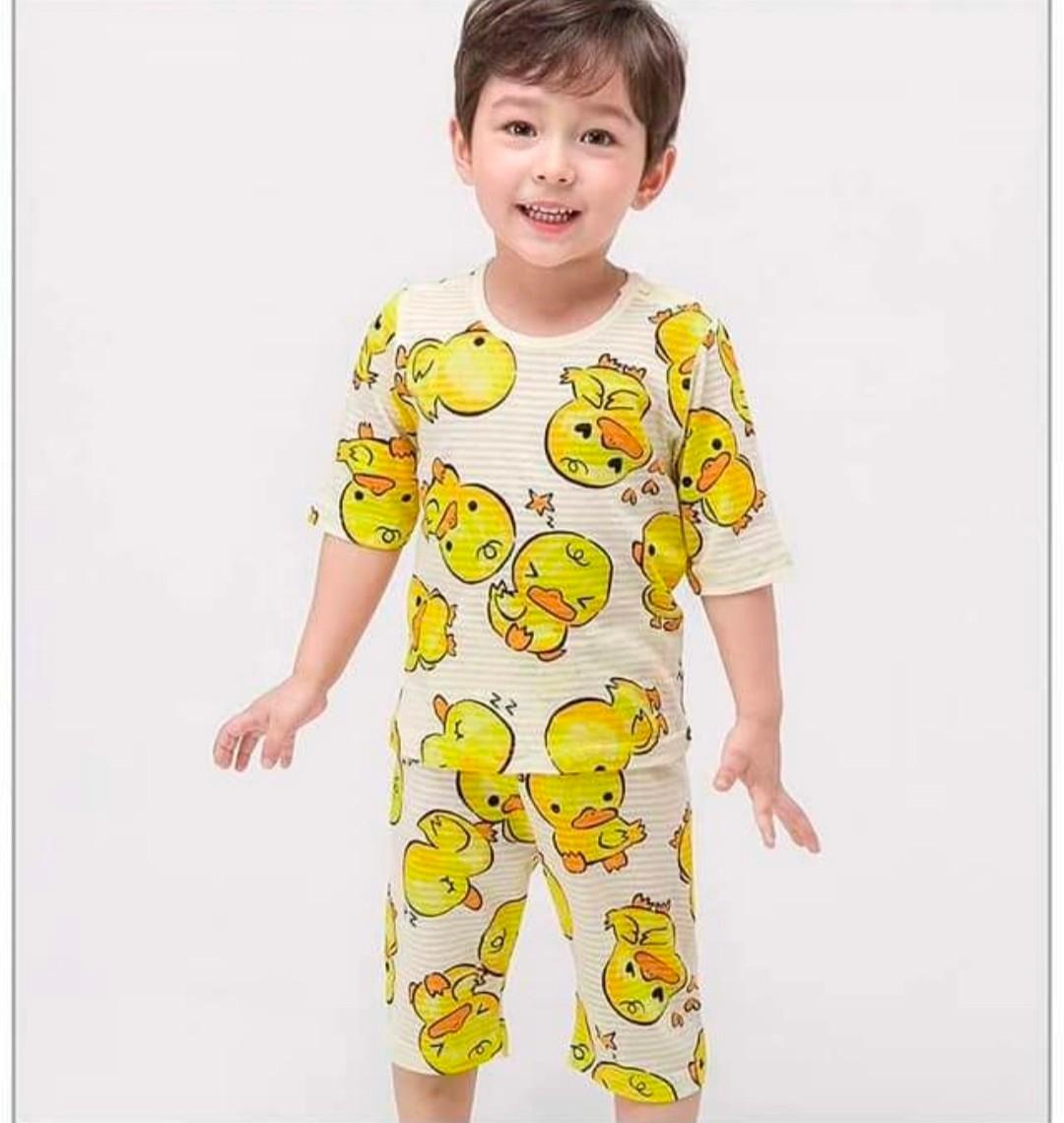 (現貨)正韓國純棉 Mellisse兒童居家服春夏款黃色小鴨(七分袖)90-150cm 芒果姐姐童裝屋