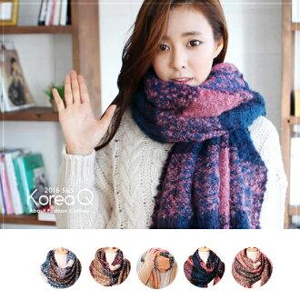 圍巾 韓系超柔軟馬海毛撞色圍巾(預+現) Korea Q【14100081】