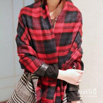 圍巾 歐美英倫風格紋雙面披肩圍巾(預+現) Korea Q【14100084】