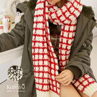 圍巾 韓系超保暖粗毛線格紋披肩圍巾(預+現) Korea Q【14100089】