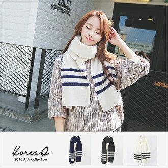 圍巾 學院風條紋貼布針織圍巾(預+現) Korea Q【16010015】