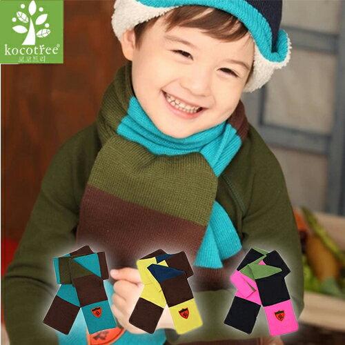 WallFree窩自在★秋冬百搭率性寬版條紋拚色LOGO徽章保暖兒童圍巾