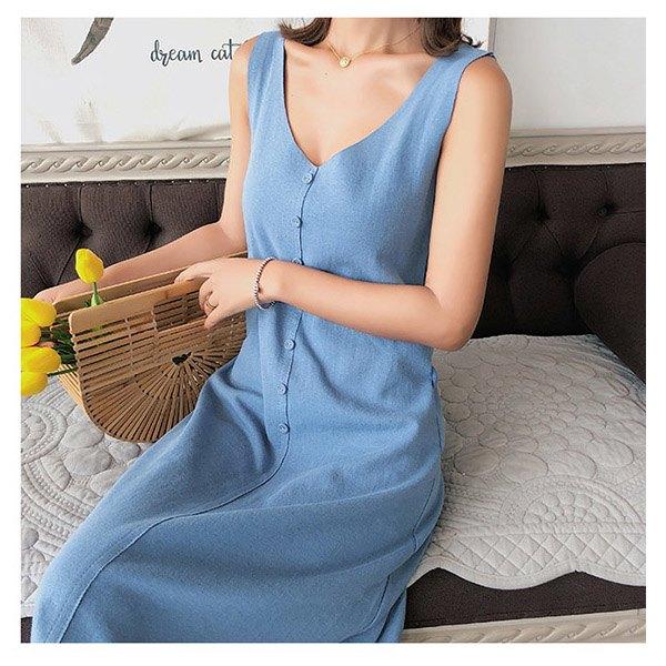 無袖洋裝素色單排釦簡約A字裙無袖洋裝連身裙【NDF6592】BOBI0614