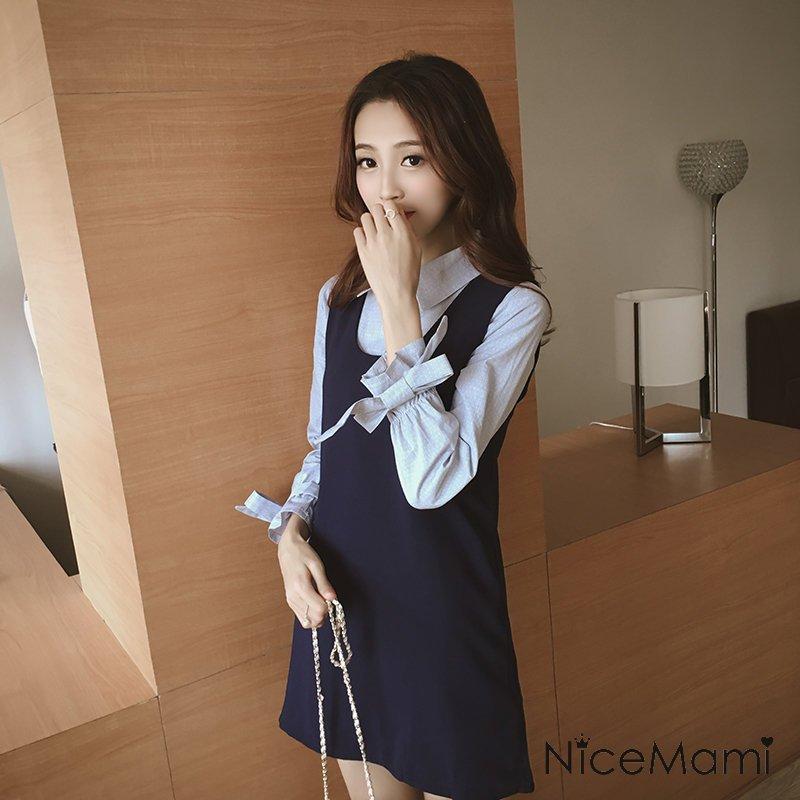 *漂亮小媽咪*甜美 假兩件 長袖 蝴蝶結 翻領 條紋 襯衫 OL 喇叭袖 孕婦連衣裙 D8097PB