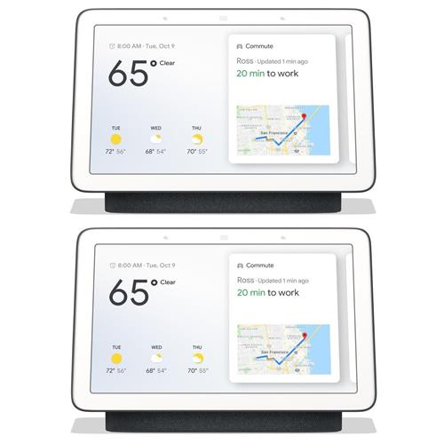 "Google 2 Pack 7"" Touchscreen Home Hub with Built-In Google Assistant, Charcoal"