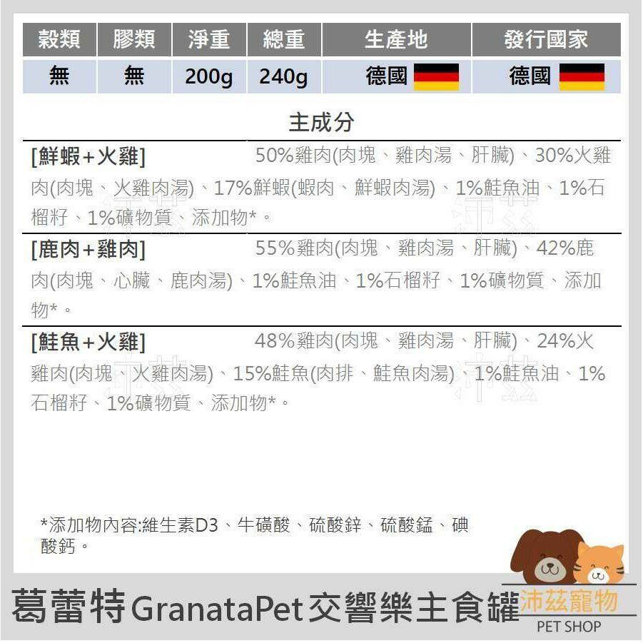 ►沛茲寵物◀葛蕾特 GranataPet 交響樂主食罐 主食罐 無穀 無膠 貓罐 貓 罐 200g