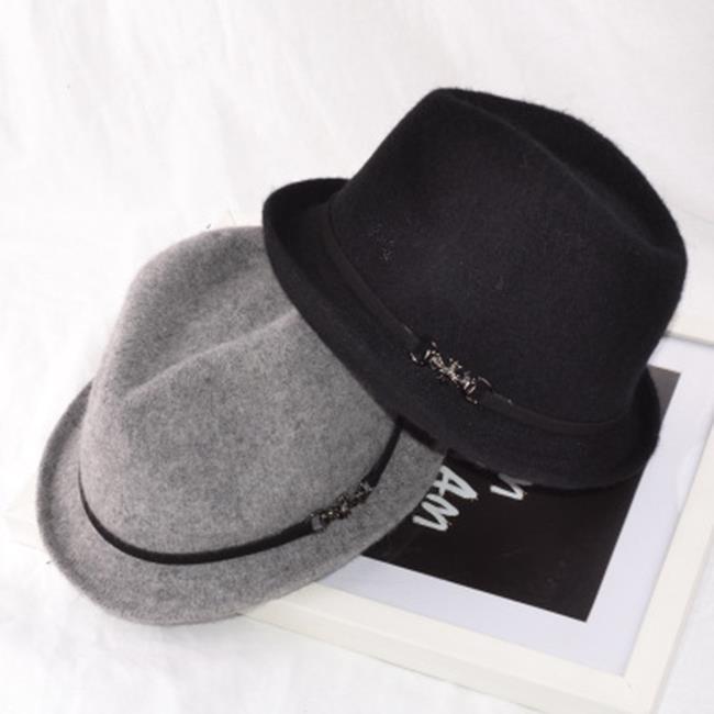 50%OFF【E020142SWH】歐美大牌羊毛針織復古鐵標女士秋冬小禮帽爵士帽羊毛休閒帽潮