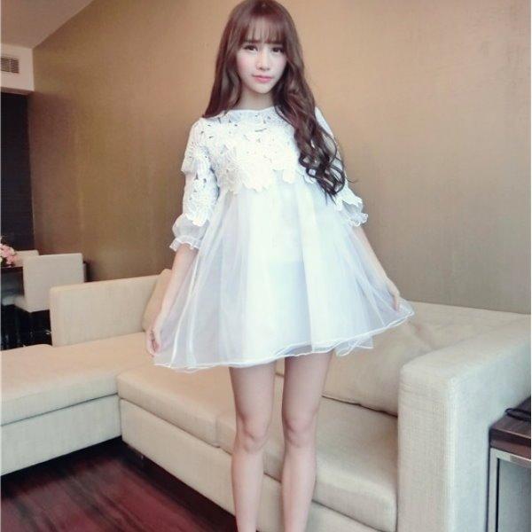 *漂亮小媽咪*fantastic girl 鈎花鏤空網紗孕婦娃娃裝拼接雪紡孕婦裝洋裝禮服 EB8928