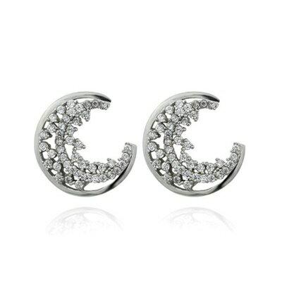 ~925純銀耳環鑲鑽耳飾~簡潔亮眼月亮 情人節 女飾品73dm54~ ~~米蘭 ~