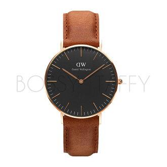 DanielWellington DW00100138 Classic Black 棕色皮革腕錶 金框 36mm