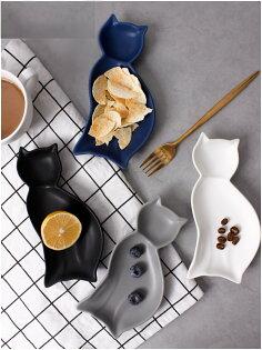 麻吉小舖:居家北歐風陶瓷餐具小貓造型碟子點心盤醬料碟