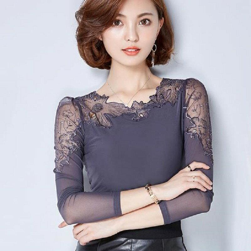 ◆Y05650 ◆時尚性感網紗拼接蕾絲百搭上衣 【韓風衣舍】