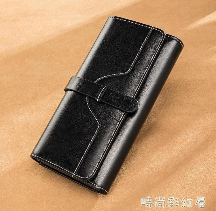 女士錢包女長款2021新款時尚ins潮復古大容量真皮手拿包可放手機 【快速出貨】