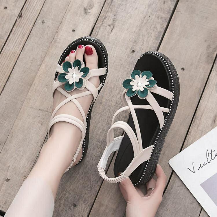 平底涼鞋女 女鞋仙女風花朵女涼鞋夏季網紅鬆糕厚底一字帶鞋
