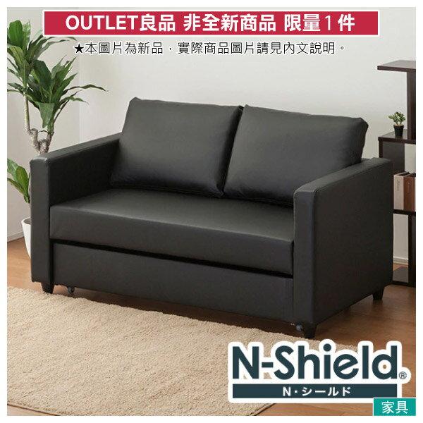 ◎(OUTLET)耐磨皮革 2人用沙發床 N-SHIELD NOARK BK 福利品 NITORI宜得利家居