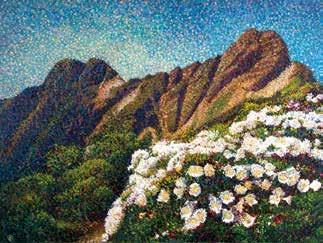 畫作磁鐵-玉山主峰【潘聖中】馬口磁鐵/ 身障畫家們透過畫作表達自己對台灣這片土地的愛 7.9cm*5.4cm*1.5cm