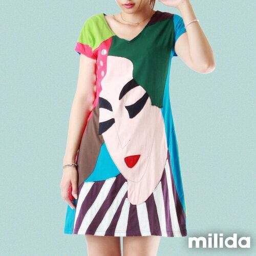 【Milida,全店七折免運】-夏季尾聲-拼貼款-古典人物插畫洋裝 1