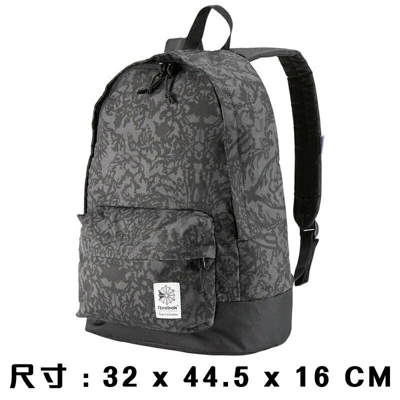 【滿額最高折318】Reebok Graphic Backpack 背包 後背包 休閒 健身 水壺 花紋 灰 【運動世界】CD1391