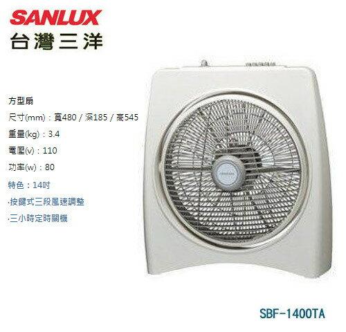 【佳麗寶】[限量速搶購喔!!]-(台灣三洋SANLUX)14吋箱扇電風扇【SBF-1400TA】