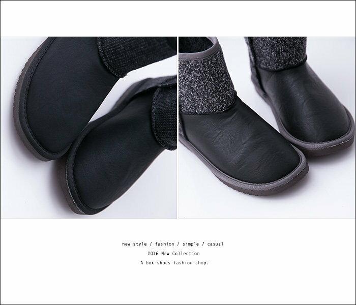 【KDLF5354】寒冬必備保暖厚毛料 時尚混色毛呢拼接皮革  防滑膠底中筒雪地靴 雪靴 2色 2
