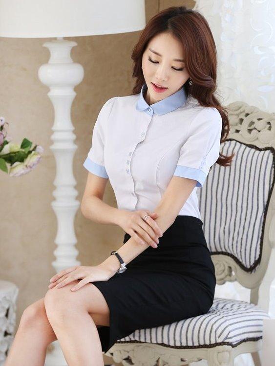 圓領OL套裝襯衫 工作制服(白藍拼接 短袖)wcps67