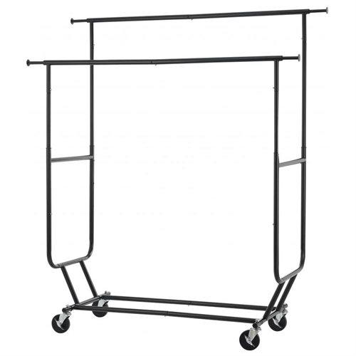 Black Commercial Grade Collapsible Clothing Rolling Double Garment Rack  Hanger R02D 0