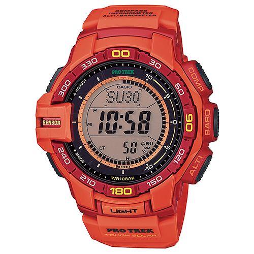 CASIO PRO TREK 登山錶 PRG-270-4A數位專業登山腕錶/橘52.4mm