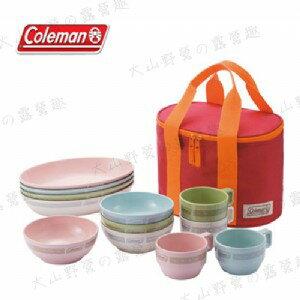 【露營趣】中和安坑 附手電筒 Coleman CM-26766 晶格餐盤組/彩色 餐具組 碗 盤子 杯子