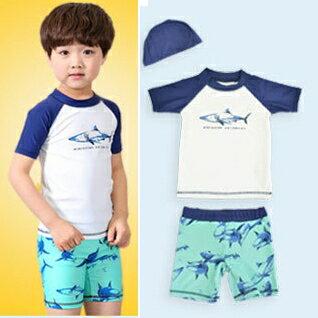 鯊魚短袖泳衣沖浪服+泳褲+泳帽  寶寶泳衣 橘魔法 玩水褲 現貨 童 嬰兒泳衣 0