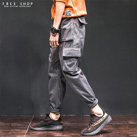 Free Shop:FreeShop潮流立體口袋造型休閒工作褲九分褲有大尺碼黑軍綠灰色男女可穿中性款【QM88900】