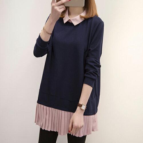 雪紡假兩件拼接襯衫連身裙(粉紅色XL~5XL)*ORead* - 限時優惠好康折扣