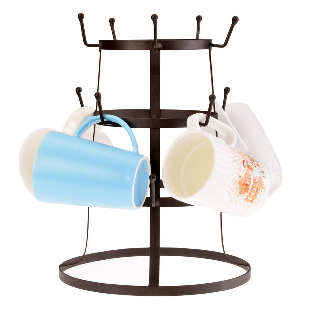 Retro Rustic Brown Iron Mug / Cup / Glass Bottle Organizer Tree Drying Rack Stand 1