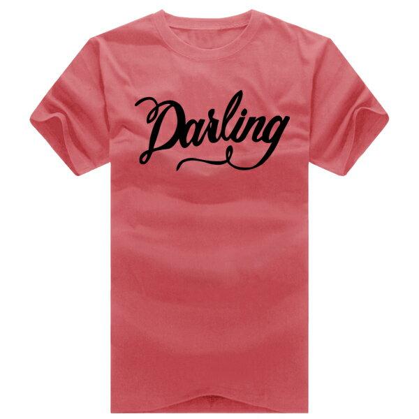 T恤 情侶裝 客製化 MIT台灣製純棉短T 班服◆快速出貨◆獨家配對情侶裝.草寫Darling【YC234】可單買.艾咪E舖 8