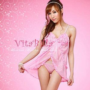 【伊莉婷】VitaBilla 粉色吊帶 睡裙+小褲 二件組 B007900203
