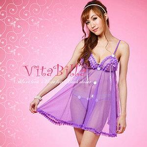 【伊莉婷】VitaBilla 花瓣魅惑 睡裙+小褲 二件組 C008900301