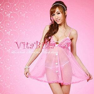 【伊莉婷】VitaBilla 粉魅柔情 睡裙+小褲 二件組 C008900302 0