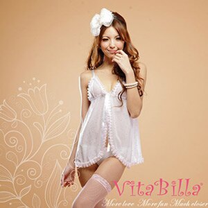 【伊莉婷】VitaBilla 白色浪漫 LUCKMATE 愛的宣言 睡裙+小褲 二件組 G000620006 0