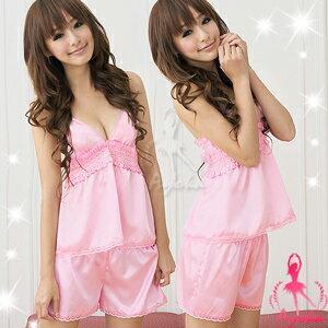 【伊莉婷】 娃娃學園!粉紅緞面二件式睡稱衣 NA09020102