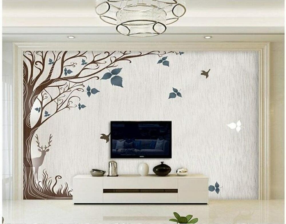 墻紙北歐電視背景墻壁紙簡約現代5d立體壁畫大氣裝飾客廳無縫影視墻布   都市時尚