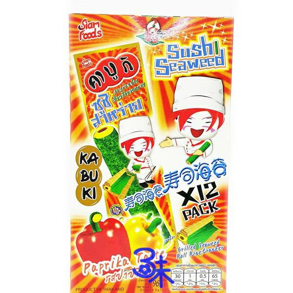 (泰國) 非常棒 壽司海苔玉米捲 (辣味) 1盒 96 公克 (12支) 特價 110 元 【 8855444005669 】 還有原味!! (海苔捲/海苔玉米棒)