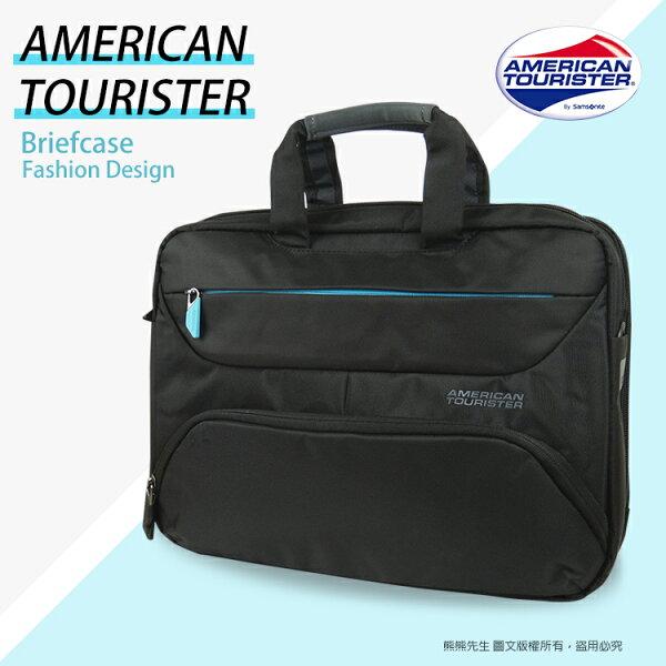 《熊熊先生》Samsonite美國旅行者AmericanTourister筆電公事包14吋電腦包AMBER系列(81S003)手提包附背帶可肩背斜背+送好禮