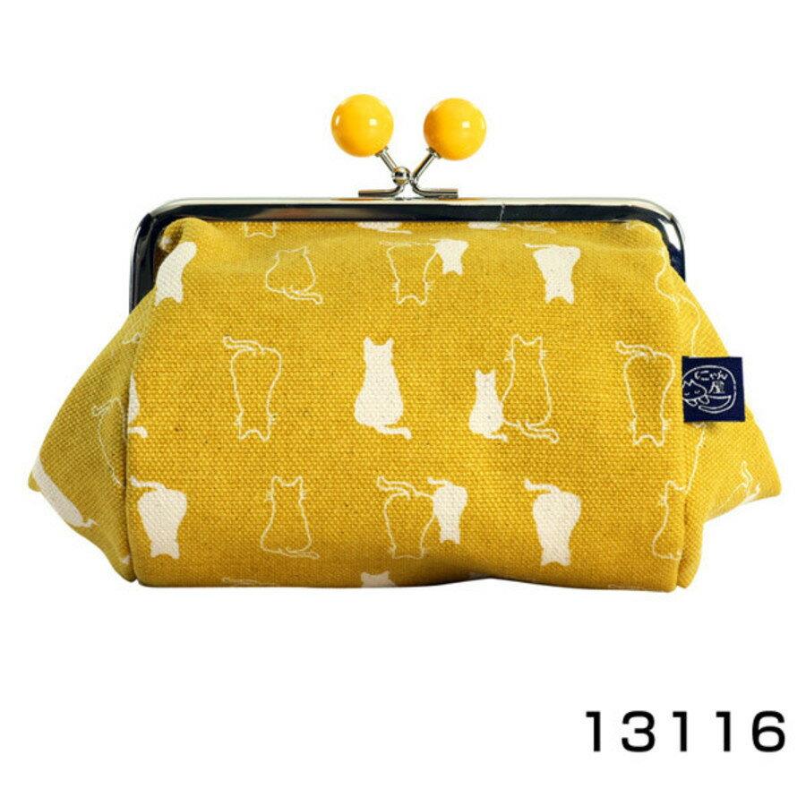 【日本製】貓帆布系列 寬底萬用零錢包 親子貓咪圖案 深藍色 - 日本製 貓帆布系列