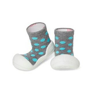 【本月特價$599】韓國【Attipas】快樂腳襪型學步鞋-圓點灰 - 限時優惠好康折扣
