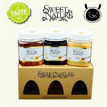 【壽滿趣】Sweet Nature - 紐西蘭進口 蜂蜜禮盒3入組(麥蘆卡Manuka MGO200+、琉璃苣、三葉草) 1