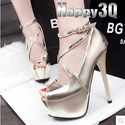 歐美時尚超高根細跟交叉綁帶顯瘦漆皮羅馬女鞋-黑/金/銀34-39【AAA0194】