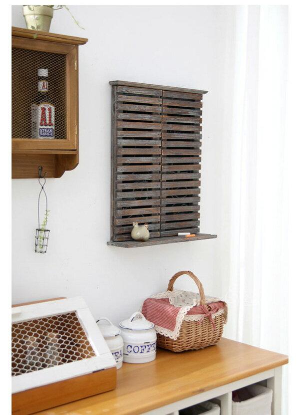 花園家居裝飾品 法式田園木質百葉窗墻飾 黑板裝飾 花架 園藝雜貨1入