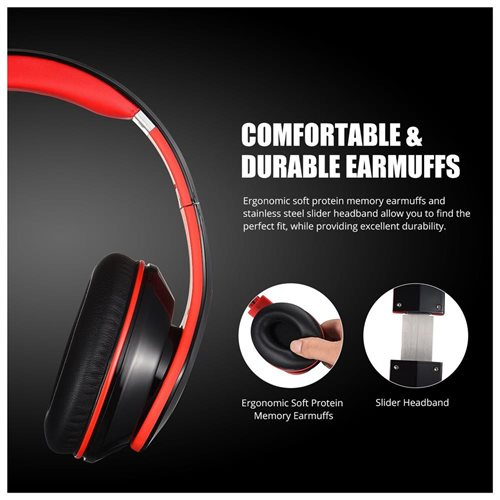 Mpow On-Ear Bluetooth Headphones with Noise Cancelling Stereo,Foldable Built-in Mic,Soft Earmuffs 2